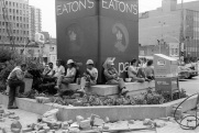 Eaton Centre, construction workers, lunch break, 1984